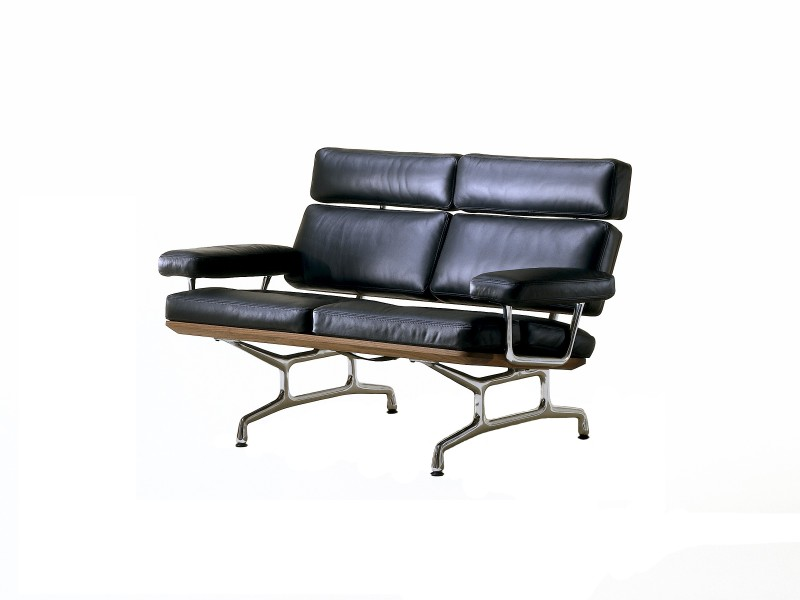 56''w x 30''d Black Leather Herman Miller Loveseat BEN006878