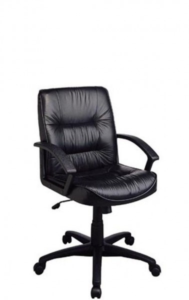 Black Leather Mid-Back Conference Chair CHR006775