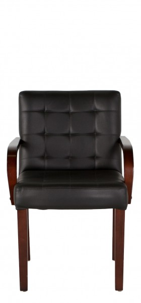 Quilted Black Vinyl Guest Chair CHR007255