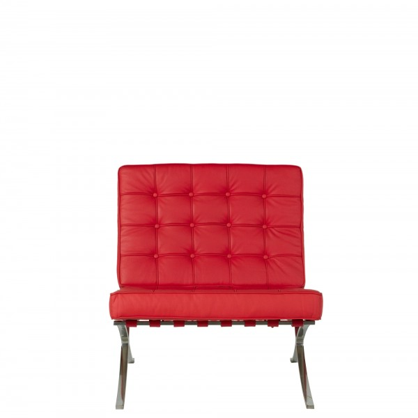 Red Leather Barcelona Lounge Chair CHR009034