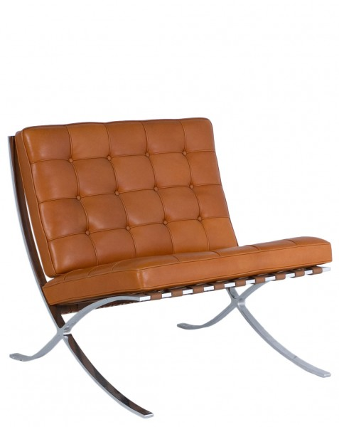 Saddle Brown Leather Barcelona Lounge Chair CHR009042