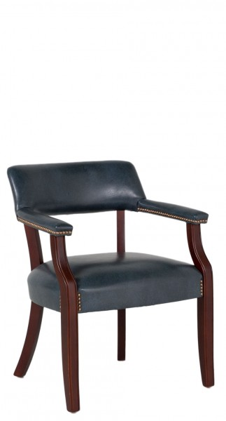 Blue Vinyl Captain's Guest Chair CHR011251