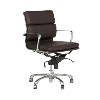 Dark Brown Leather Executive Mid-Back Office Chair CHR011592