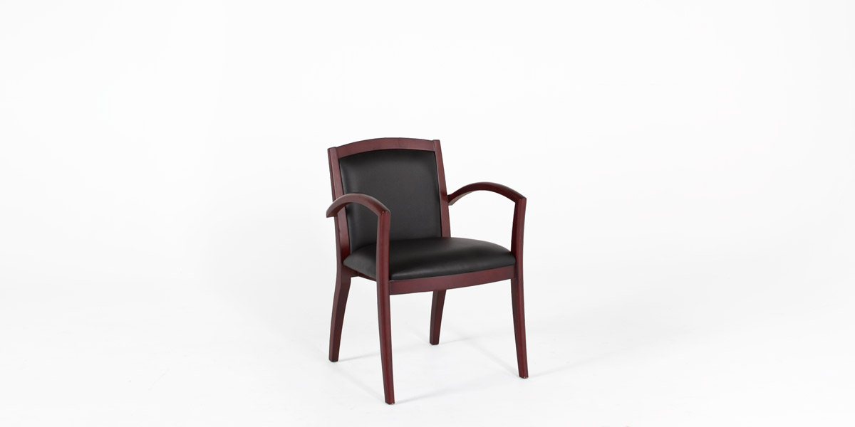 Black Leather Guest Arm Chair CHR012196