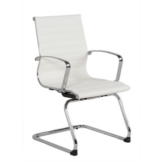 White Leather Eames Guest Chair CHR012842