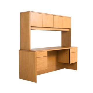 68.5''w x 37''h Medium Oak Desktop Hutch HUT012437