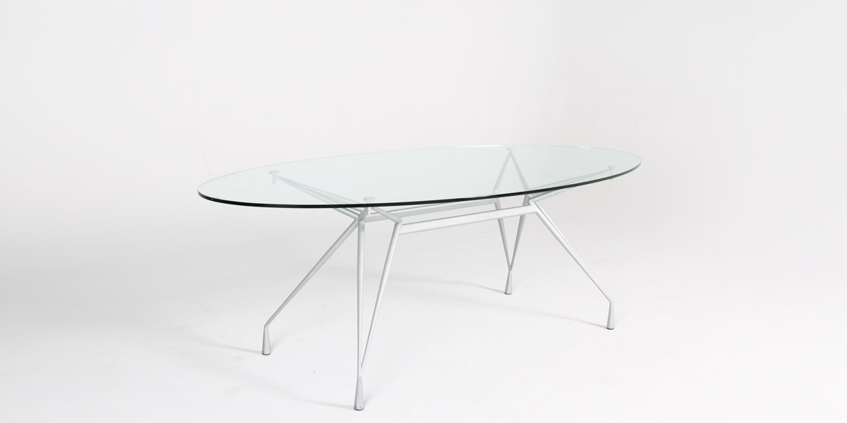 41''w x 86.25''d Glass Oval Conference Table TBL012232