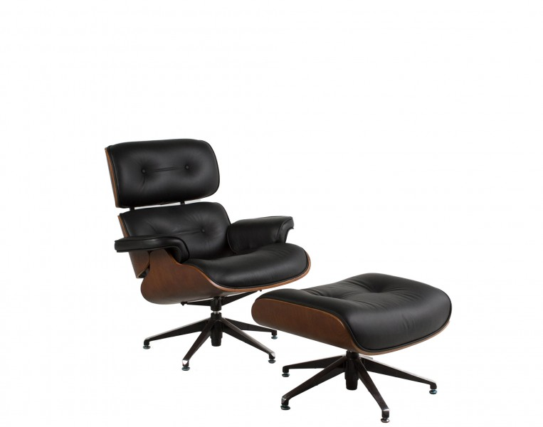 Black Leather Eames Lounge Chair CHR011162