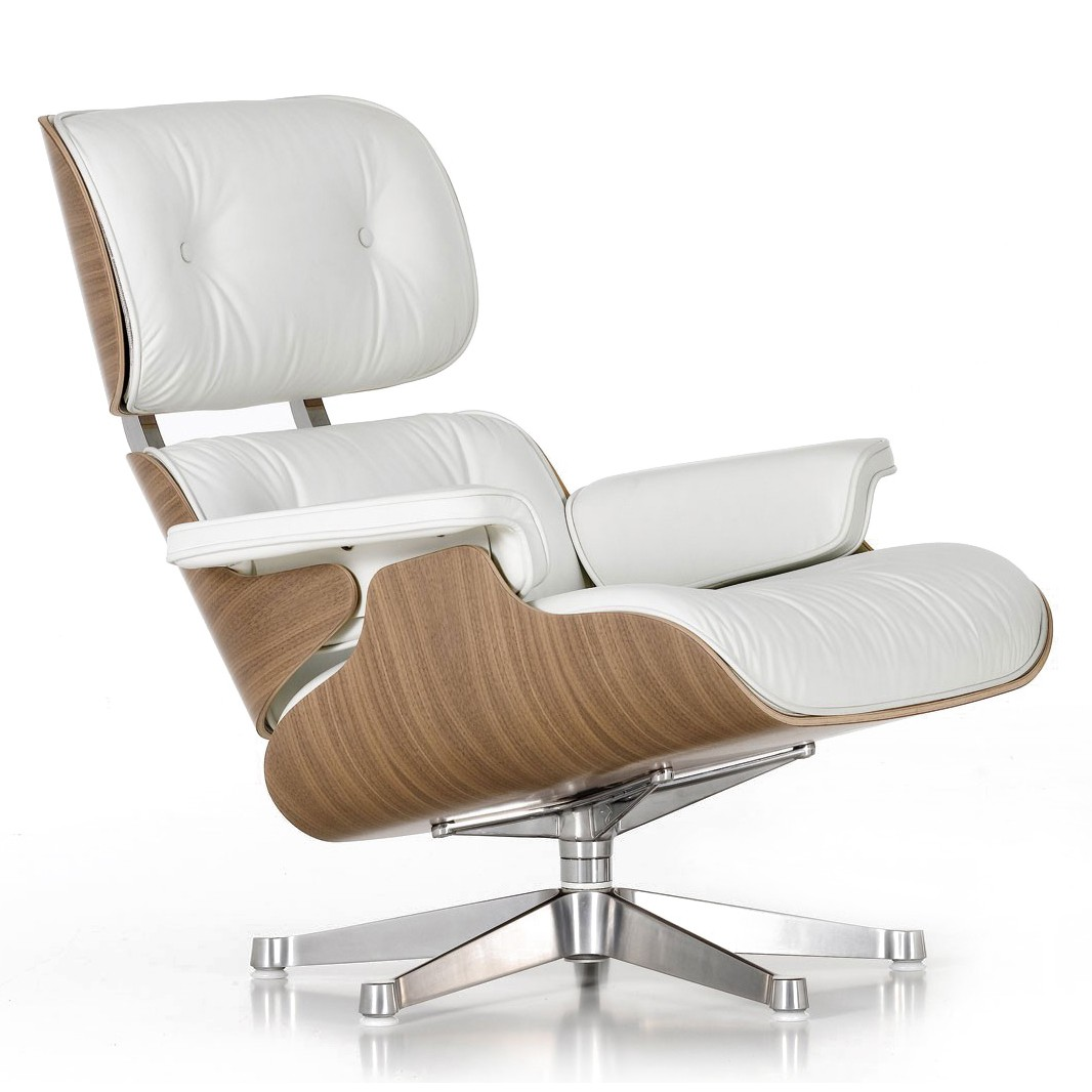 White Leather Eames Lounge Chair CHR012740