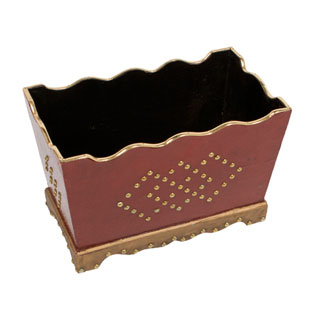 "9.5""h Red Wood Planter ACC008495"