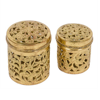 "5""h Faux Gold Canister ACC005681"