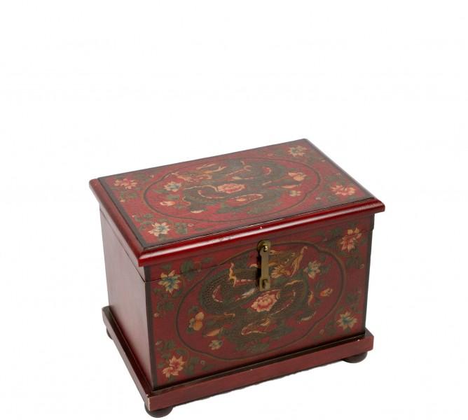"""14""""h Wooden Oriental Chest ACC008847"""