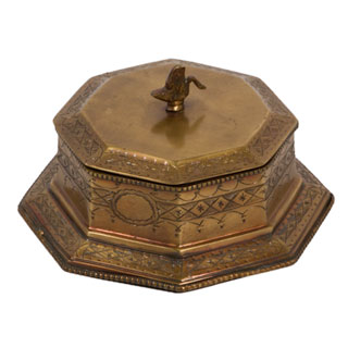 "4""h Antique Brass Box MIS007014"