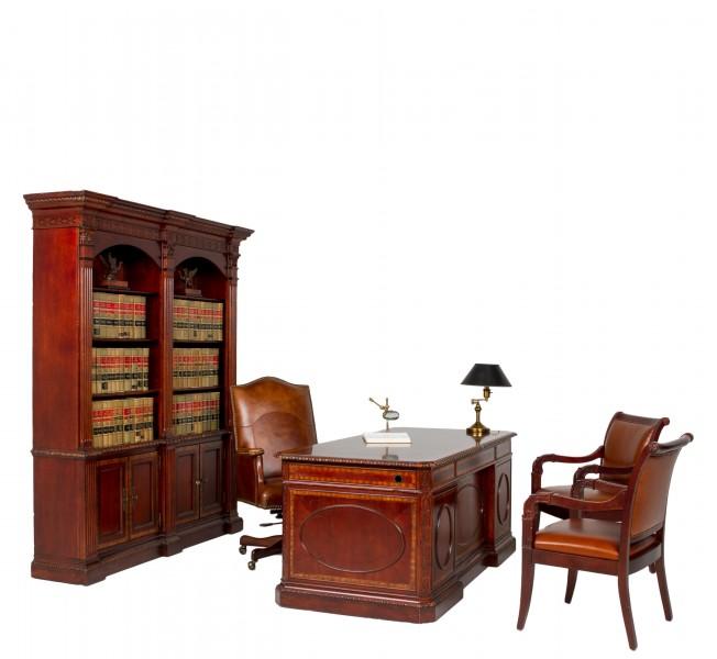 "69""w x 84""h Medium Cherry English Manor Bookcase BKC009952"