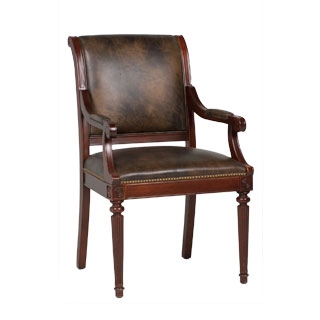 Dark Marbled Leather Regency Arm Chair CHR009283