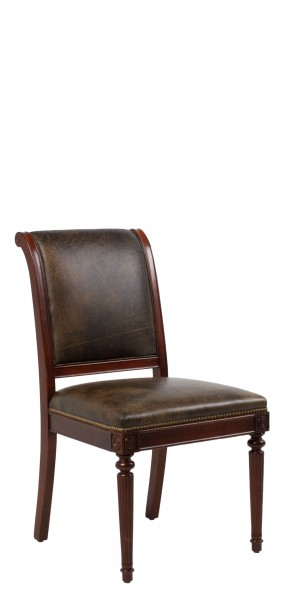 Dark Marbled Leather Regency Side Chair CHR009284