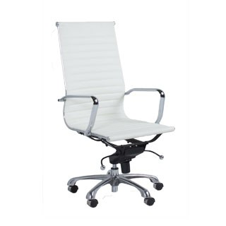 White Leather Eames Hi-Back Executive Chair CHR010312
