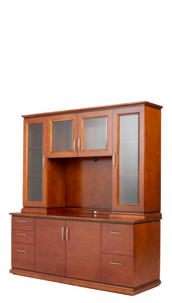"72""w x 49""h Medium Cherry Contemporary Hutch HUT012602"