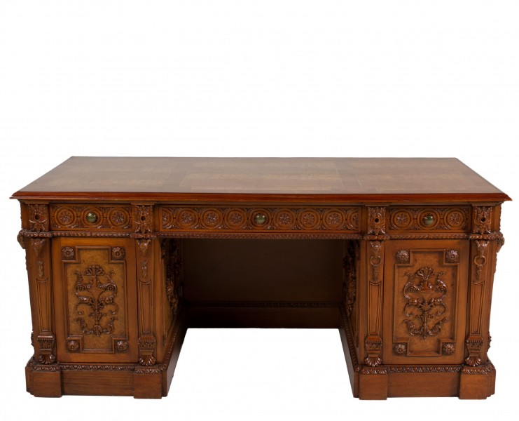 "69""w x 35""d Burl Walnut Partner's Desk DSK012726"