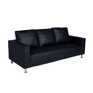 "84""w x 34""d Black Leather Pillowback Sofa SOF012856"