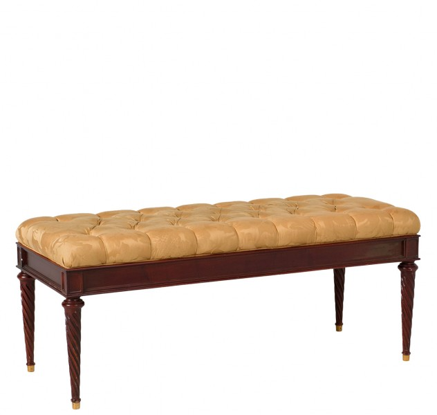 "48""w x 19.5""d Tufted Gold Fabric Bench BEN010048"