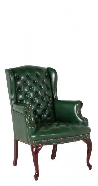 Green Vinyl Wing Back Arm Chair CHR006784