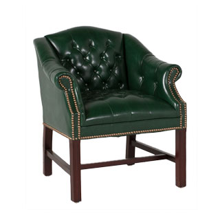 Green Vinyl Camelback Conference Chair CHR006785