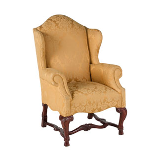 Gold Damask Wing Back Club Chair CHR009323