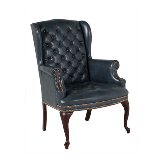 Blue Vinyl Wing Back Lounge Chair CHR011253
