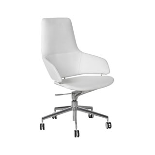 White Leather Mid-Back Swivel Chair CHR011749