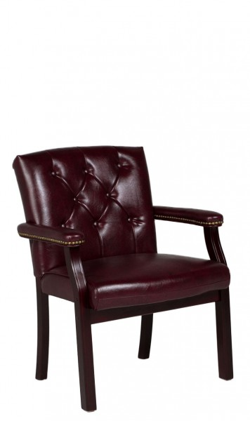 Tufted Oxblood Vinyl Traditional Guest Chair CHR011978