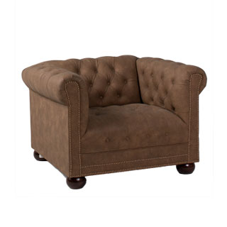 Faux Brown Suede Chesterfield Club Chair CHR012023