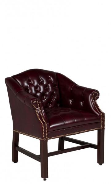 Oxblood Vinyl Camelback Guest Chair CHR012046