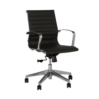 Charcoal Grey Leather Eames Mid-Back Office Chair CHR012876