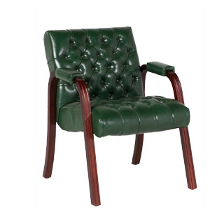 Green Vinyl Guest Arm Chair CHR006787
