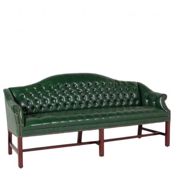 "78""w x 25""d Green Vinyl Camelback Sofa SOF006783"