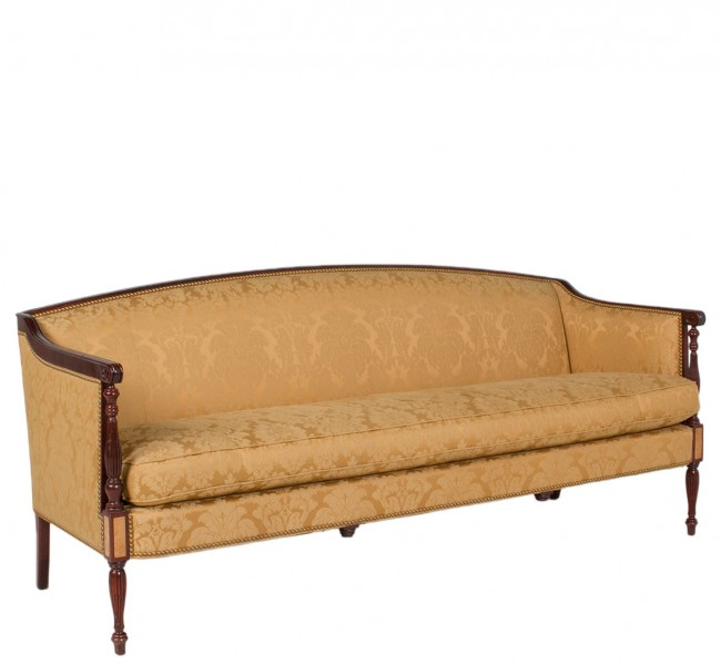 "77""w x 27.5""d Gold Damask Fabric Sofa SOF007043"