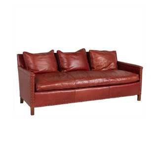 "71""w x 28""d Rustic Red Leather Sofa SOF009601"