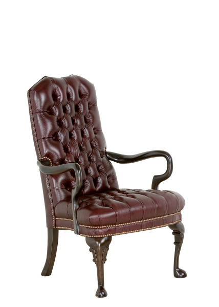 Oxblood Vinyl Guest Arm Chair TRD005673