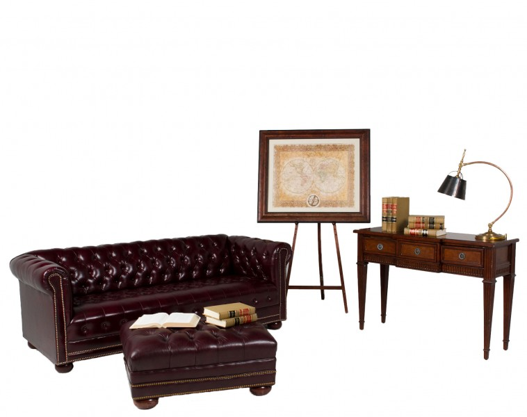 "78""w x 36""d Oxblood Vinyl Chesterfield Sofa TRD010328"