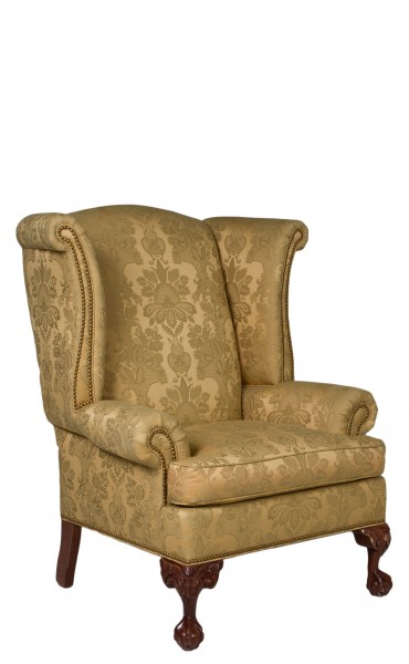Gold Damask Wing Back Club Chair CHR009285