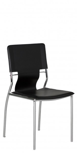 Black Leather Sling Back Side Chair CHR011676