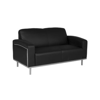 58''w x 32''d Black Leather Loveseat LVS011667