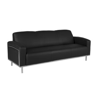 "81.5""w x 32""d Black Leather Sofa SOF011666"