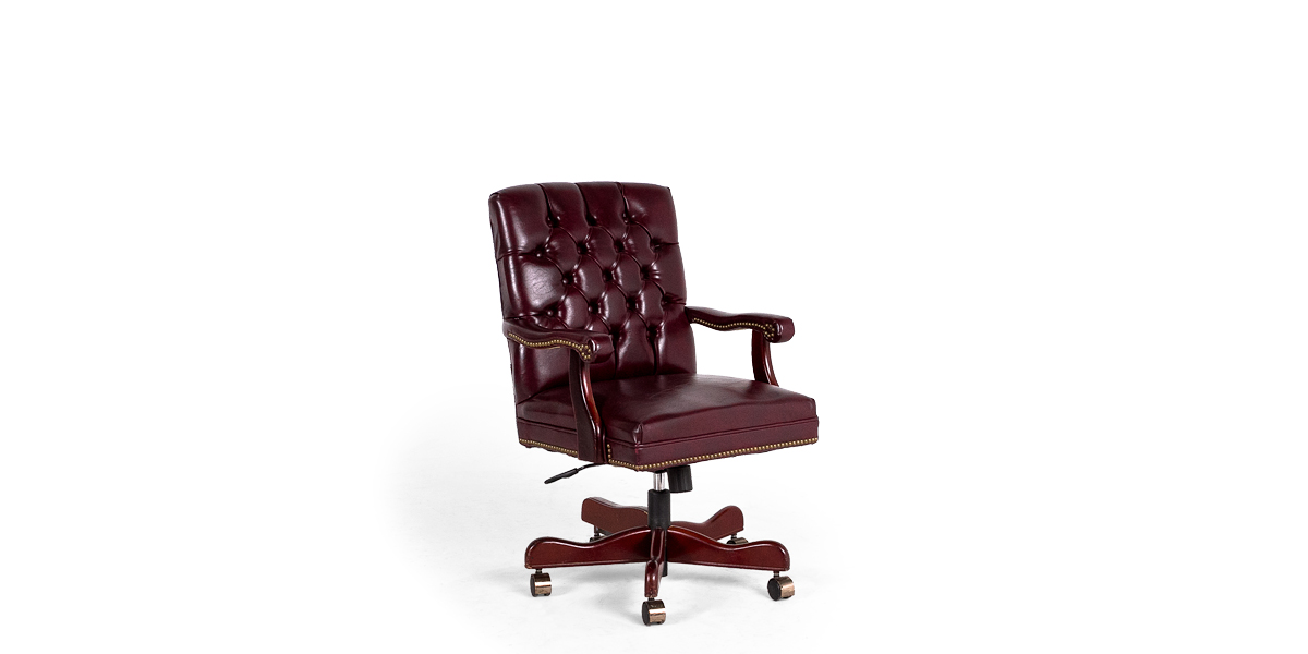 Traditional Oxblood Vinyl Executive Mid-Back Chair TRD004244