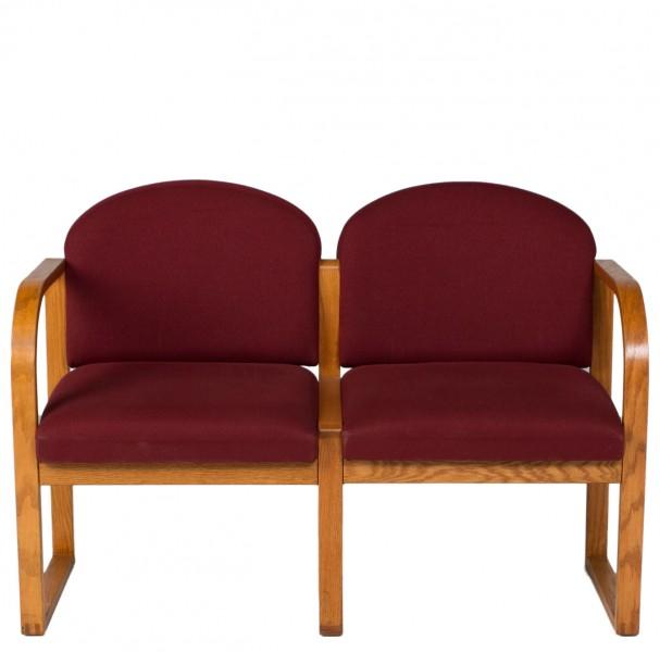 "44.5""w x 25""d Burgundy Fabric Tandem Seating BEN007078"