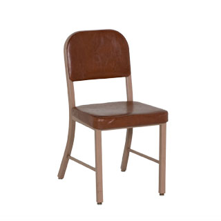 Brown Vinyl Vintage Schoolhouse Side Chair CHR004450
