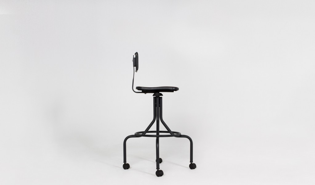 Dark Grey Metal Vintage Drafting Stool CHR005576