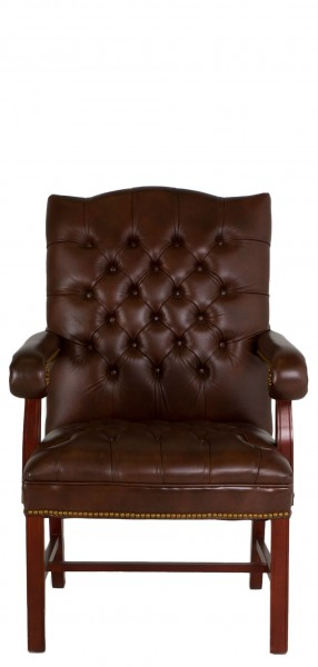 Tufted Brown Vinyl Traditional Guest Chair CHR007530