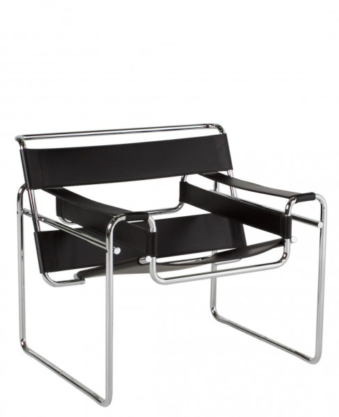 Black Leather Wassily Lounge Chair CHR011894